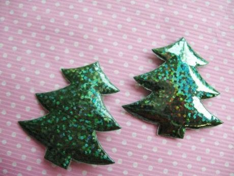 10 X 34MM GREEN XMAS CHRISTMAS TREE LAZER PADDED APPLIQUE EMBELLISHMENTS HEADBANDS CARD MAKING
